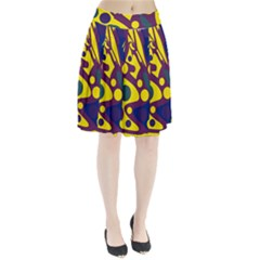 Deep blue and yellow decor Pleated Skirt