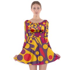 Colorful chaos Long Sleeve Skater Dress