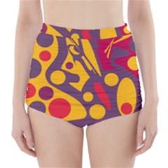 Colorful Chaos High Waisted Bikini Bottoms