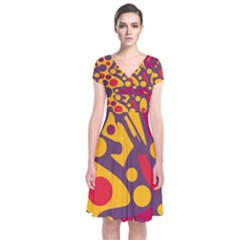 Colorful chaos Short Sleeve Front Wrap Dress