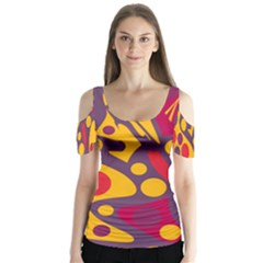 Colorful chaos Butterfly Sleeve Cutout Tee