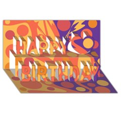 Orange and blue decor Happy Birthday 3D Greeting Card (8x4)