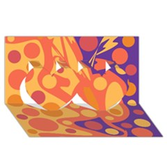 Orange and blue decor Twin Hearts 3D Greeting Card (8x4)