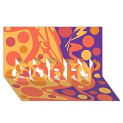 Orange and blue decor SORRY 3D Greeting Card (8x4)