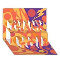 Orange and blue decor THANK YOU 3D Greeting Card (7x5)