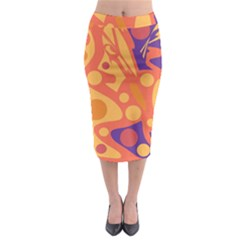 Orange And Blue Decor Midi Pencil Skirt