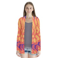 Orange And Blue Decor Drape Collar Cardigan