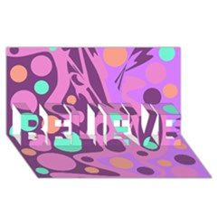 Purple and green decor BELIEVE 3D Greeting Card (8x4)