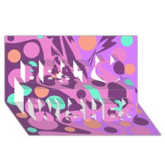 Purple and green decor Best Wish 3D Greeting Card (8x4)