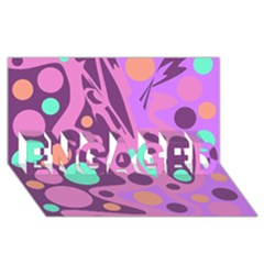 Purple and green decor ENGAGED 3D Greeting Card (8x4)