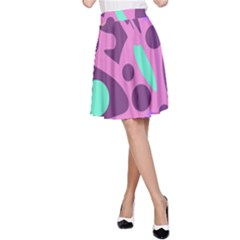 Purple and green decor A-Line Skirt