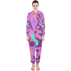 Purple and green decor Hooded Jumpsuit (Ladies)