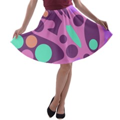 Purple and green decor A-line Skater Skirt