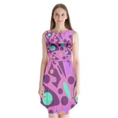 Purple and green decor Sleeveless Chiffon Dress