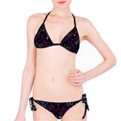 Purple butterflies pattern Bikini Set