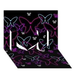 Purple butterflies pattern I Love You 3D Greeting Card (7x5)