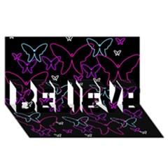 Purple butterflies pattern BELIEVE 3D Greeting Card (8x4)