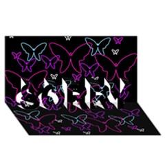 Purple butterflies pattern SORRY 3D Greeting Card (8x4)