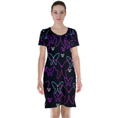 Purple butterflies pattern Short Sleeve Nightdress