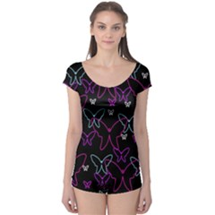 Purple butterflies pattern Boyleg Leotard