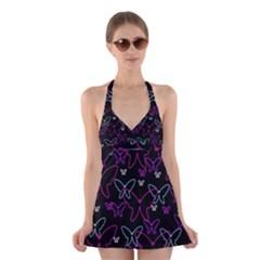 Purple butterflies pattern Halter Swimsuit Dress