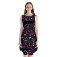 Purple butterflies pattern Sleeveless Chiffon Dress