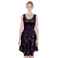 Purple Butterflies Pattern Racerback Midi Dress
