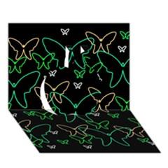 Green butterflies Apple 3D Greeting Card (7x5)