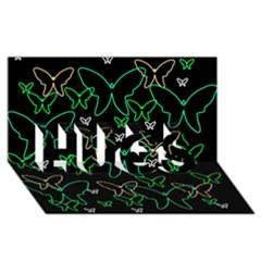 Green butterflies HUGS 3D Greeting Card (8x4)