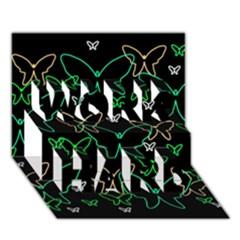 Green butterflies WORK HARD 3D Greeting Card (7x5)