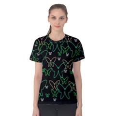 Green butterflies Women s Cotton Tee