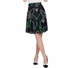 Green Butterflies A Line Skirt