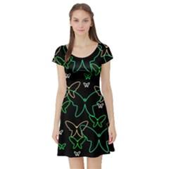 Green butterflies Short Sleeve Skater Dress