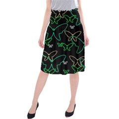Green Butterflies Midi Beach Skirt