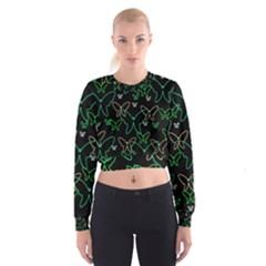Green Butterflies Women s Cropped Sweatshirt