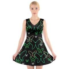 Green butterflies V-Neck Sleeveless Skater Dress