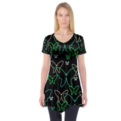 Green butterflies Short Sleeve Tunic