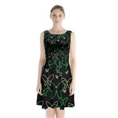 Green butterflies Sleeveless Chiffon Waist Tie Dress
