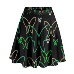 Green butterflies High Waist Skirt