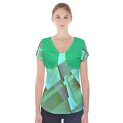 Retro Pastel Green Modern Abstract Short Sleeve Front Detail Top