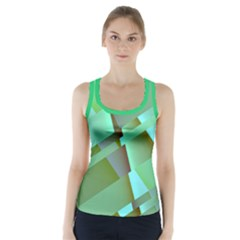 Pastel Green Modern Abstract Retro Racer Back Sports Top