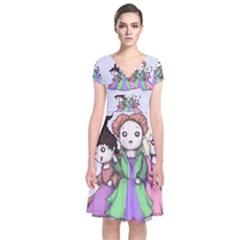 Hocus Pocus Plush Short Sleeve Front Wrap Dress