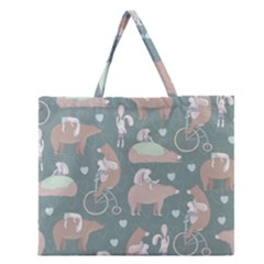 Bear Ruding Unicycle Unique Pop Art All Over Print Zipper Large Tote Bag