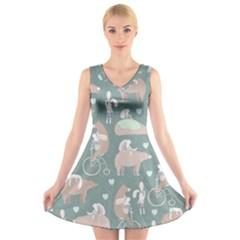 Bear Ruding Unicycle Unique Pop Art All Over Print V Neck Sleeveless Skater Dress