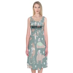 Bear Ruding Unicycle Unique Pop Art All Over Print Midi Sleeveless Dress