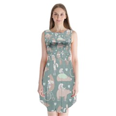 Bear Ruding Unicycle Unique Pop Art All Over Print Sleeveless Chiffon Dress