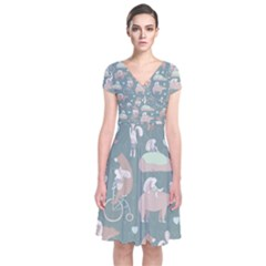 Bear Ruding Unicycle Unique Pop Art All Over Print Short Sleeve Front Wrap Dress