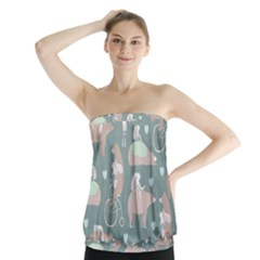 Bear Ruding Unicycle Unique Pop Art All Over Print Strapless Top