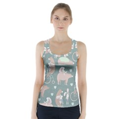 Bear Ruding Unicycle Unique Pop Art All Over Print Racer Back Sports Top