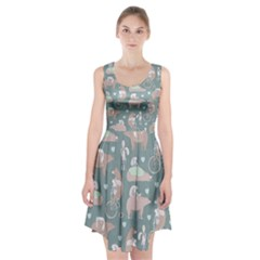 Bear Ruding Unicycle Unique Pop Art All Over Print Racerback Midi Dress